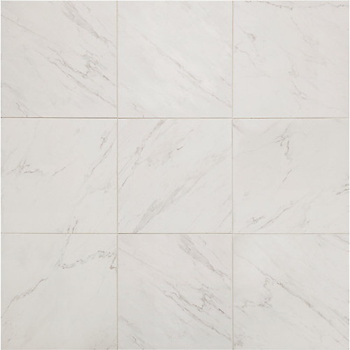 Carrara 18-inch x 18-inch Glazed Porcelain Floor and Wall Tile (2.2 sq. ft. / piece)