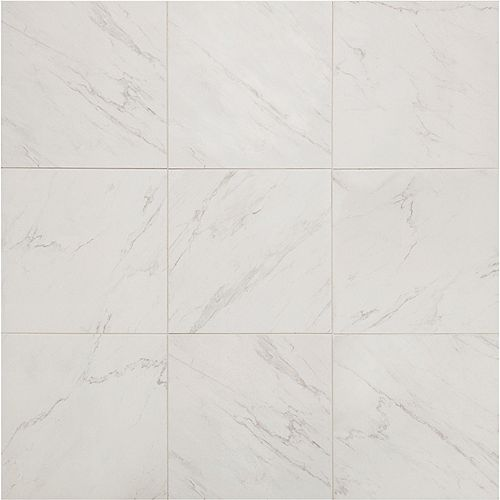 Carreau pour planchers et murs Carrara, 18po x 18po, porcelaine vernie (2,2pi2/pièce)