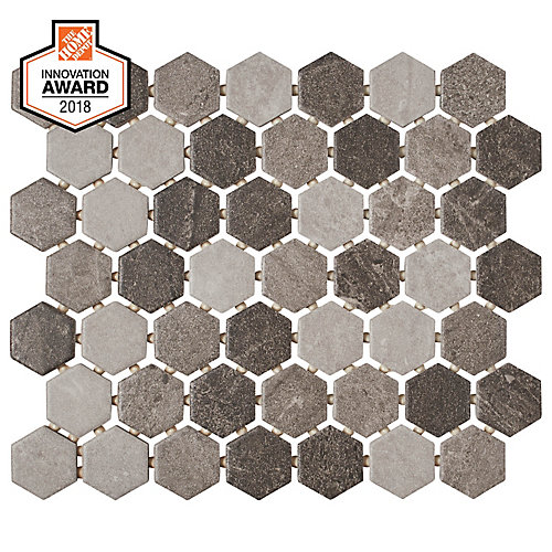 Quartzite Multi-Grey 10-inch x 12-inch x 6 mm Ceramic Hexagon Mosaic Tile (0.81 sq. ft. / piece)