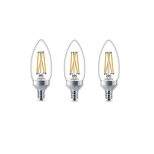 60W Equivalent Soft White Glass Chandelier CanBase CRI90 LED Light Bulb (3-Pack)