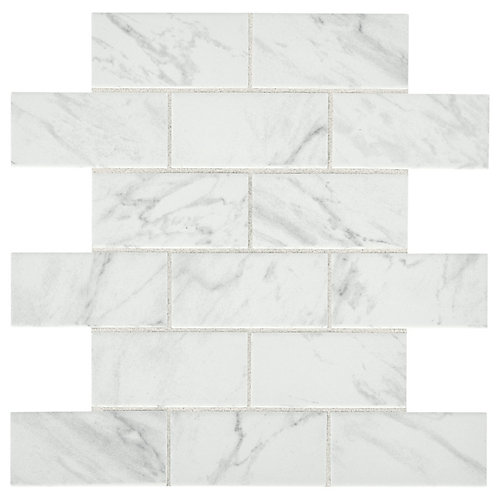 Carrara 12-inch x 12-inch x 6 mm Ceramic Brick Joint Mosaic Tile (0.83 sq. ft. / piece)