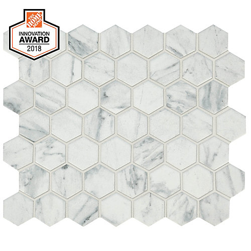 Carrara 10-inch x 12-inch x 6 mm Ceramic Hexagon Mosaic Tile (0.81 sq. ft. / piece)