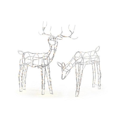 Décoration de Noël, cerf illuminé en fil métallique, ens. de 2