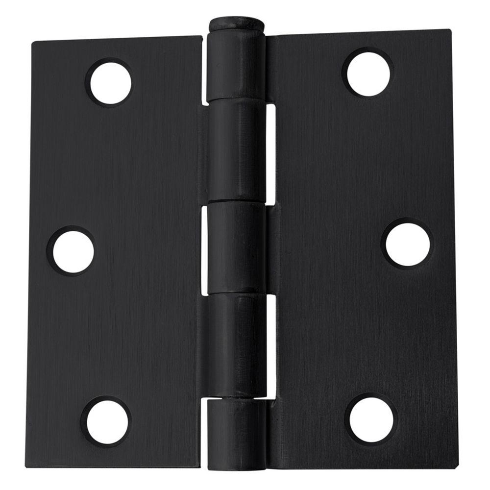Everbilt Charnière de porte à angle droit de 3 pouces, noire, 12pk