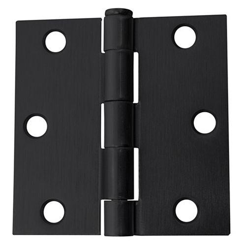 Everbilt 3-in Square Corner Door Hinge, Black, 12pk