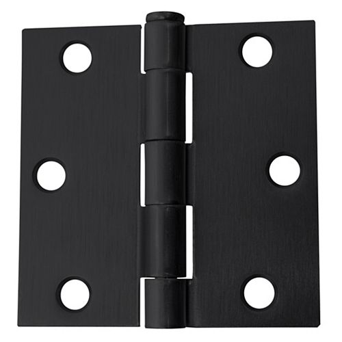 3-in Square Corner Door Hinge, Black, 12pk