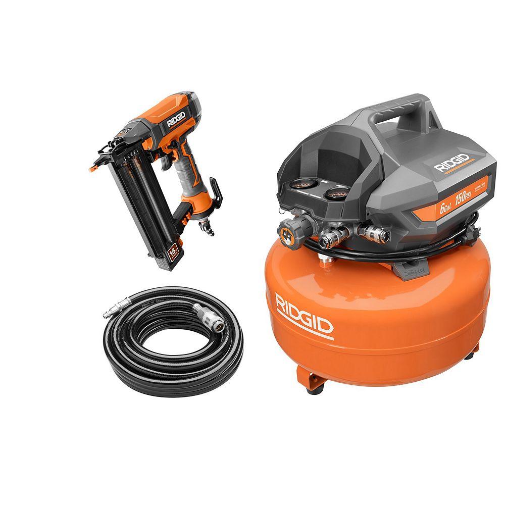 RIDGID 6 Gallon Pancake Compressor and 2-1/8 -inch Brad Nailer Kit