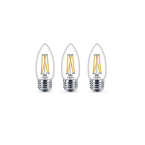40W Equivalent Soft White Warmglow Chandelier MedBase CRI90 LED Light Bulb (3-Pack)