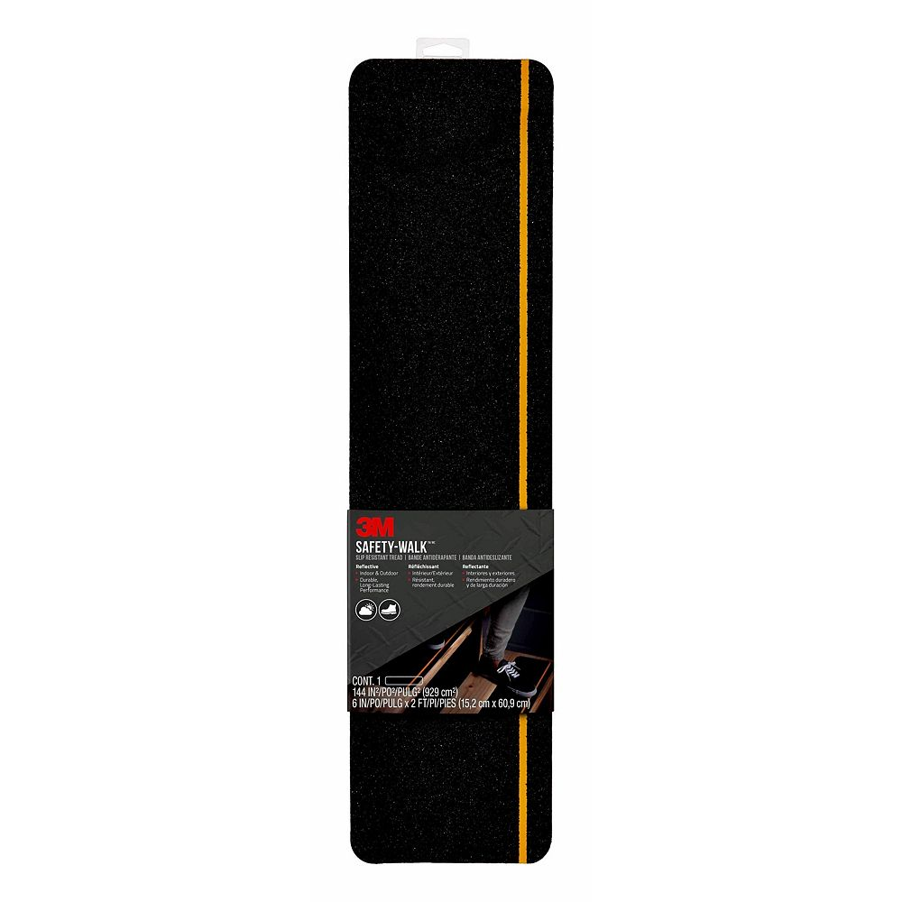 3M Safety-Walk Slip Resistant Reflective Tread 600BY-T6X24, Black, 6 inch x 2 ft. (15.24cm x 60.9cm) 1Pk