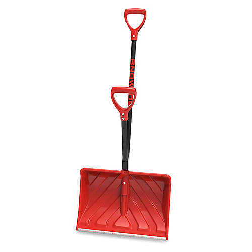 Shovelution 20-inch Poly Blade Back Saving Telescoping Snow Shovel with Spring Assisted Handle