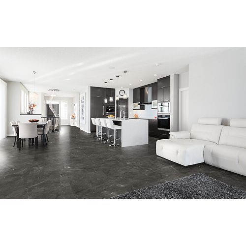 Trentino Graphite 12-inch x 24-inch Polished Rectified Porcelain Tile
