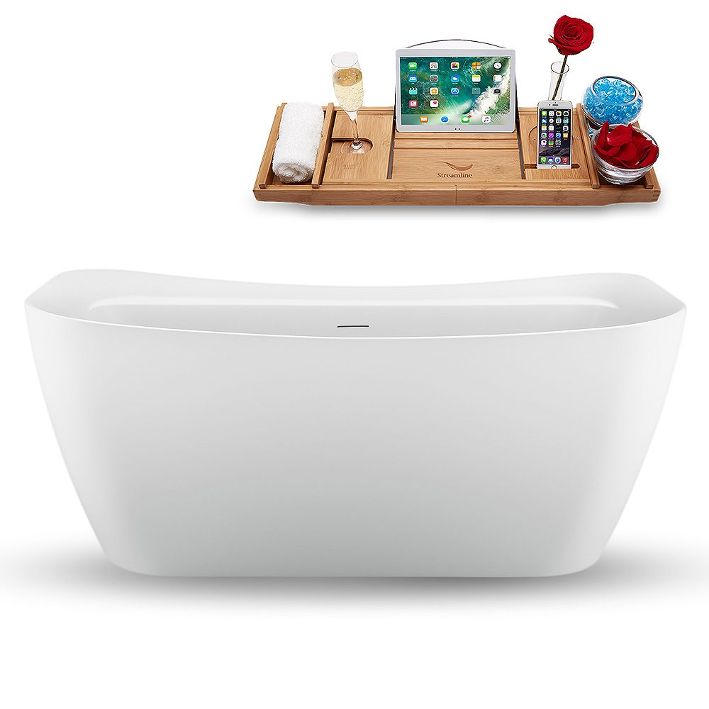 Streamline 59 inch N1720ROB Freestanding Tub and Tray with Internal Drain