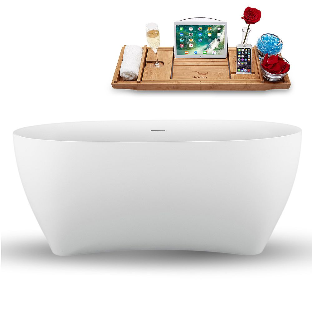 Streamline 59 inch N1740BL Freestanding Tub and Tray with Internal Drain