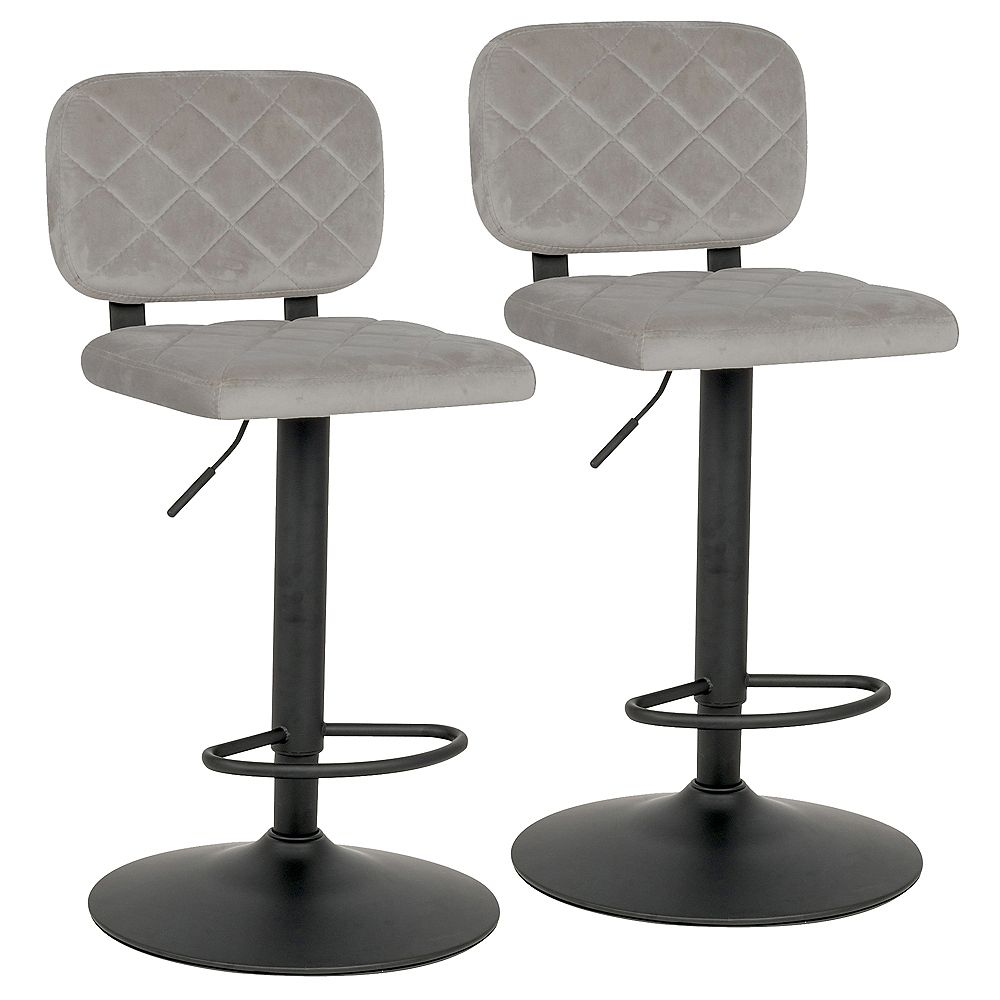 !nspire Aiko-Air Lift Stool-Grey- Set Of 2