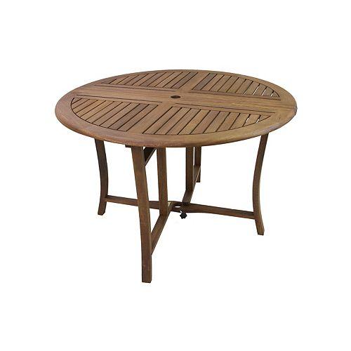 Table ronde pliante d'eucalyptus de 43 po