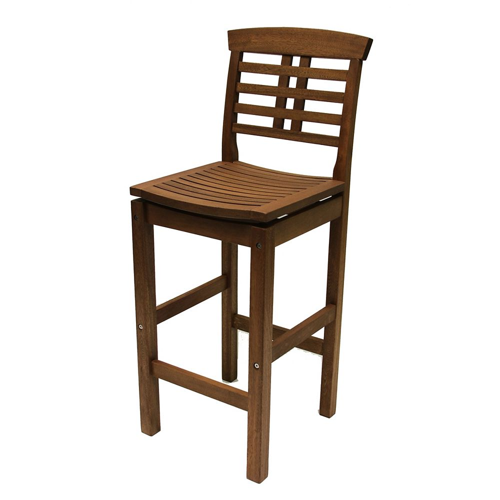 Outdoor Interiors Eucalyptus Bar Chair With Backrest The Home Depot Canada