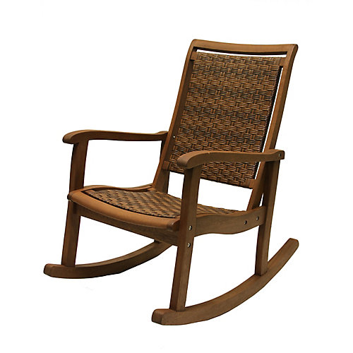 Brown Wicker & Eucalyptus Rocking Chair
