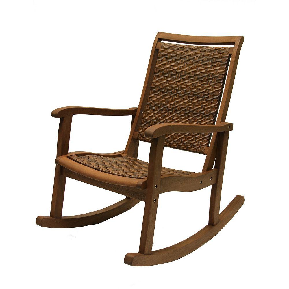 Brown Wicker Eucalyptus Rocking Chair, Outdoor Furniture Rocking Chair