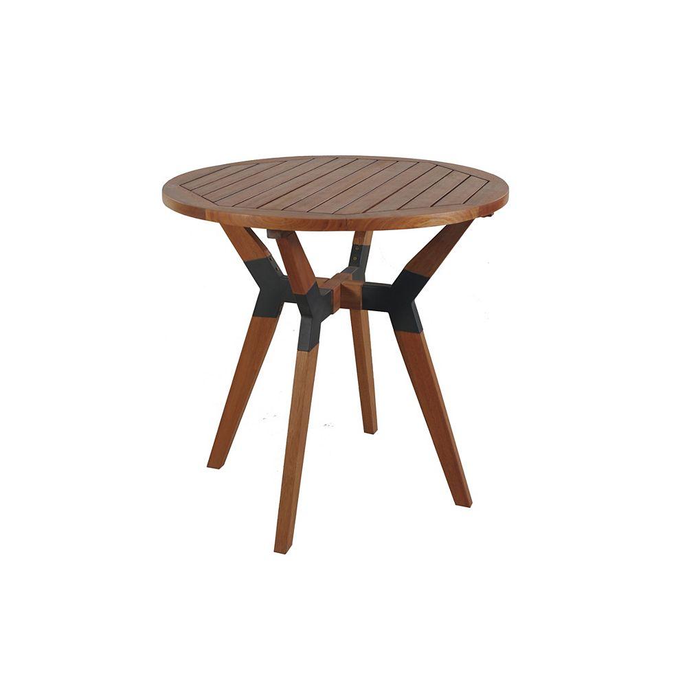 Outdoor Interiors 30 inch Dia. Mixed Material Bistro Table, Eucalyptus