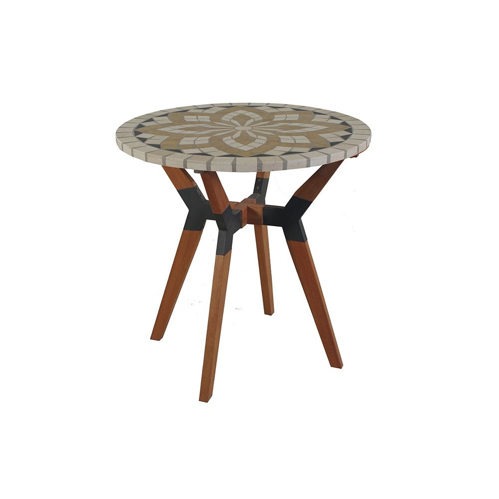 Outdoor Interiors 30 inch Dia. Marble Mosaic Bistro Table with Mixed Material Base