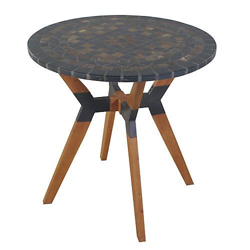 Table bistro en ardoise mosaïque avec base en matériaux mixtes, diam. 30 po