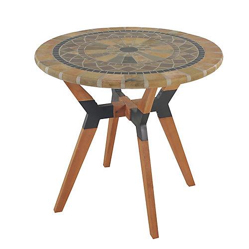 Table bistro en grès mosaïque avec base en matériaux mixtes, diam. 30 po