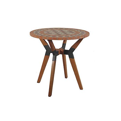 Table bistro en terre cuite mosaïque avec base en matériaux mixtes, diam. 30 po