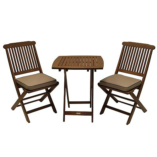 3 Pc Square Bistro Set with Beige Cushions
