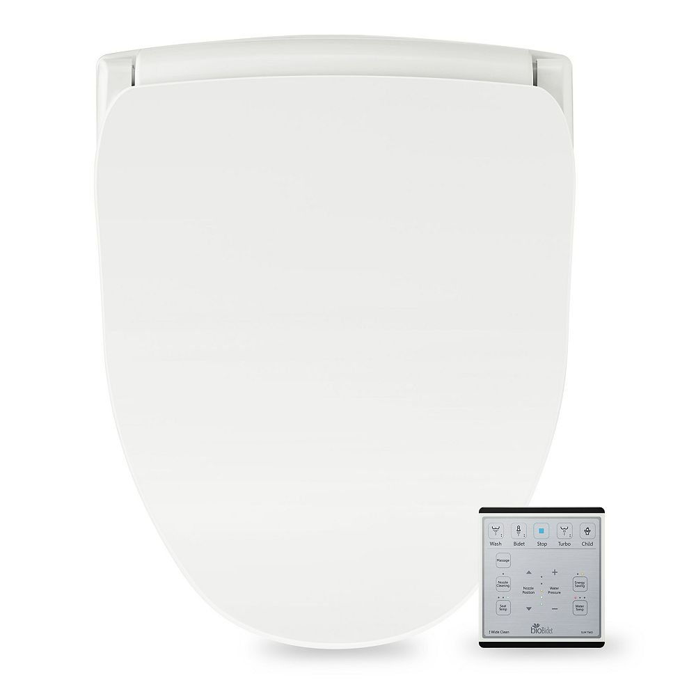 Bio Bidet Slim Two Electric Bidet Seat for Elongated Toilet in White