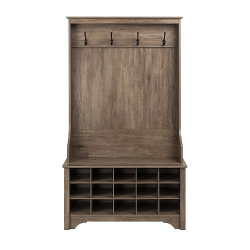 Hall Tree with Shoe Storage, Drifted Gray