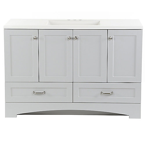 Lancaster 48.25 inch W x 18.75 inch D Vanity in Pearl Gray with Cultured Marble Vanity Top in White