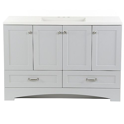 Lancaster 48.25-inch W x 33-inch H x 18.75-inch D Bathroom Vanity in Pearl Grey with Cultured Marble Countertop/Rectangular Sink