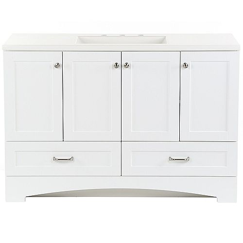 Lancaster 48.25-inch W x 18.75- inch D Vanity in White with Cultured Marble Vanity Top in White