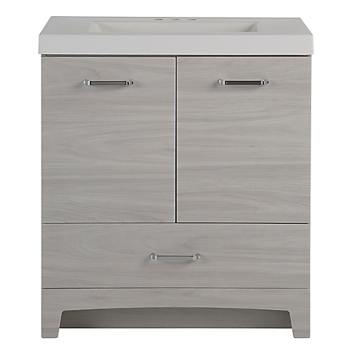 Stancliff 30.5 inch W x 18.75 inch D Vanity in Elm Sky with Cultured Marble Vanity Top in White
