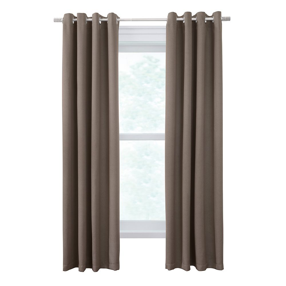 Thermaplus Belize One Pair of Woven Blackout Grommet Curtains 104x63 Taupe