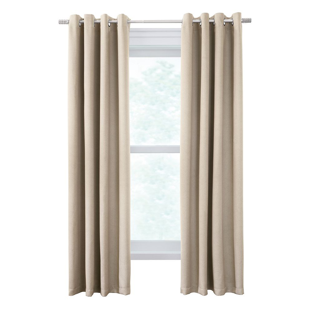 Thermaplus Belize One Pair of Woven Blackout Grommet Curtains 104x96 Ivory
