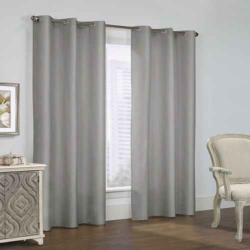 Prescott Pair of Insulated Solid Room Darkening Grommet Curtains 80x63 Grey