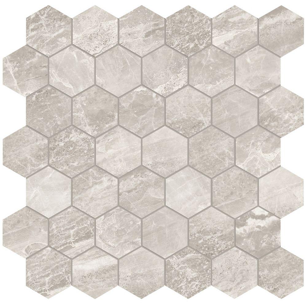 Enigma Marino Grey 2-inch Hexagon Polished Porcelain Mosaics