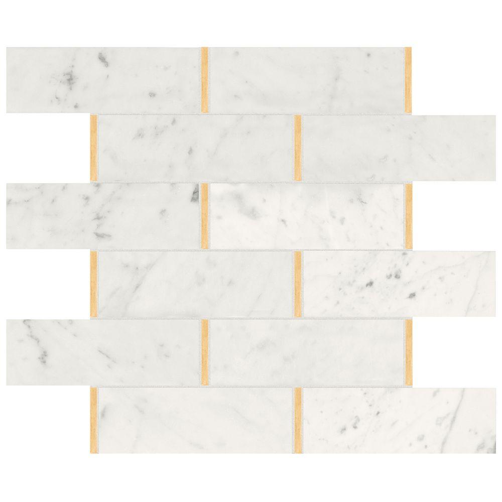 Enigma Mosaïques de briques en marbre poli Bianco Glam