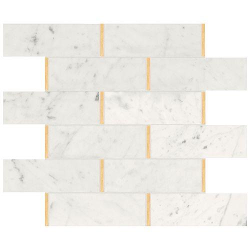 Bianco Glam Brick Polished Marble Mosaics