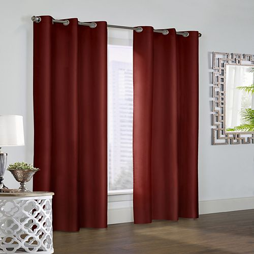 Prescott Pair of Insulated Solid Room Darkening Grommet Curtains 80x63 Burgundy