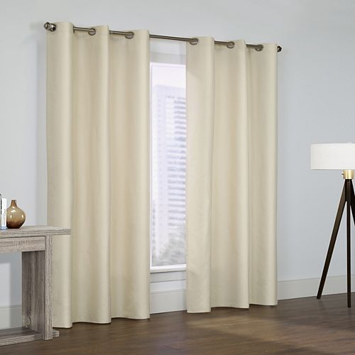 Prescott Pair of Insulated Solid Room Darkening Grommet Curtains 80x84 Ivory