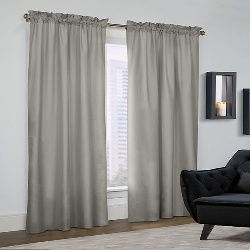Prescott Pair of Insulated Solid Room Darkening Pole Top Curtains 80x63 Grey
