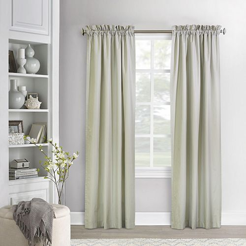 Ticking Stripe Pair of Insulated Room Darkening Pinstripe Pole Top Curtain 80x63 Sage