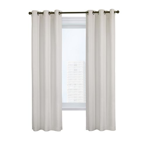 Weathermate Pair of Insulated Solid Duck Fabric Grommet Curtains 80x63 White