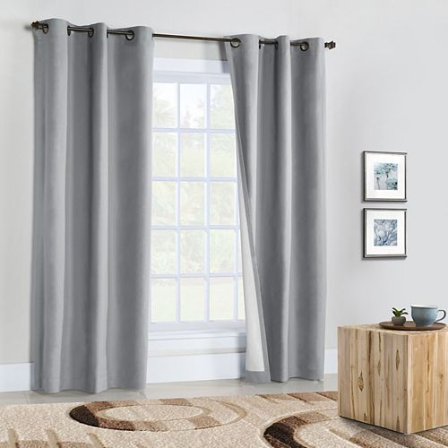 Weathermate Pair of Insulated Solid Duck Fabric Grommet Curtains 80x95 Silver