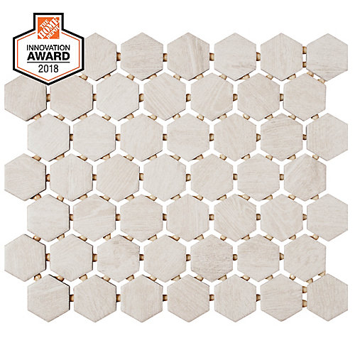 Fog Wood 10-inch x 12-inch x 6 mm Ceramic Hexagon Mosaic Tile (0.81 sq. ft. / piece)