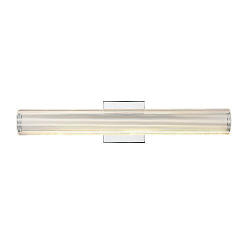 Easylite 24 inch Chrome LED Vanity with Clear Striped Acrylic Shade