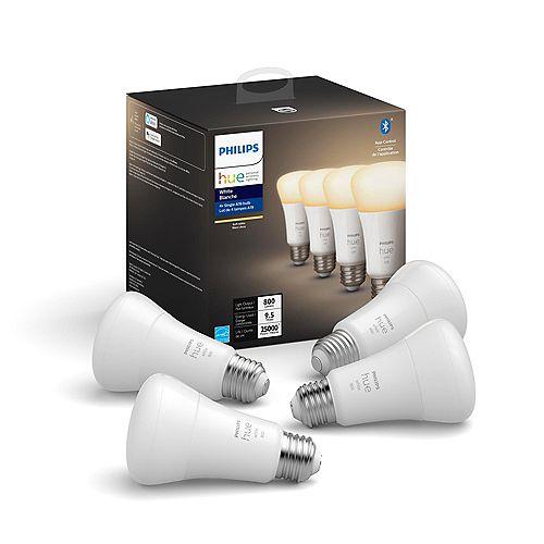 Ampoule DEL avec technologie Bluetooth A19 Hue, blanc, ens. de 4