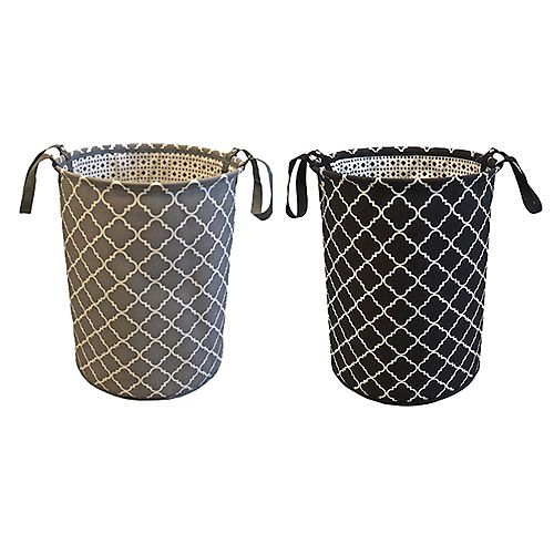 Geometric Lightweight Fabric Hamper with Handles (Assorted Colours)